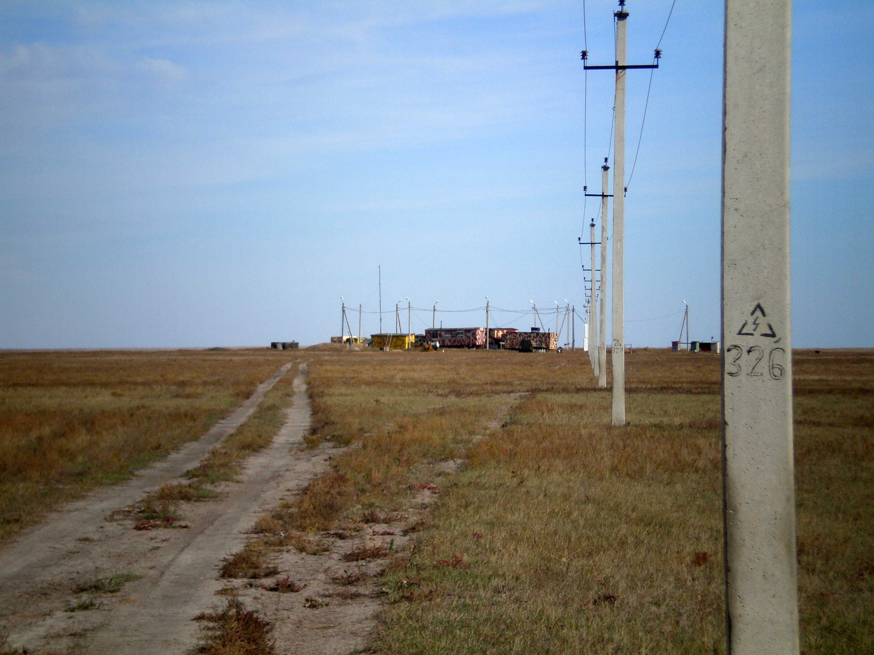 "The middle-voltage power line between Polevoi and hunting camp ""Aike"" is one of most dangerous for birds in Orenburg province, Russia. Photo by Evgeny Barbaziuk"