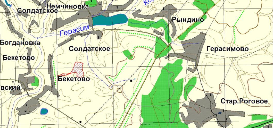 Схема расположения заказника «Бекетовские холмы»