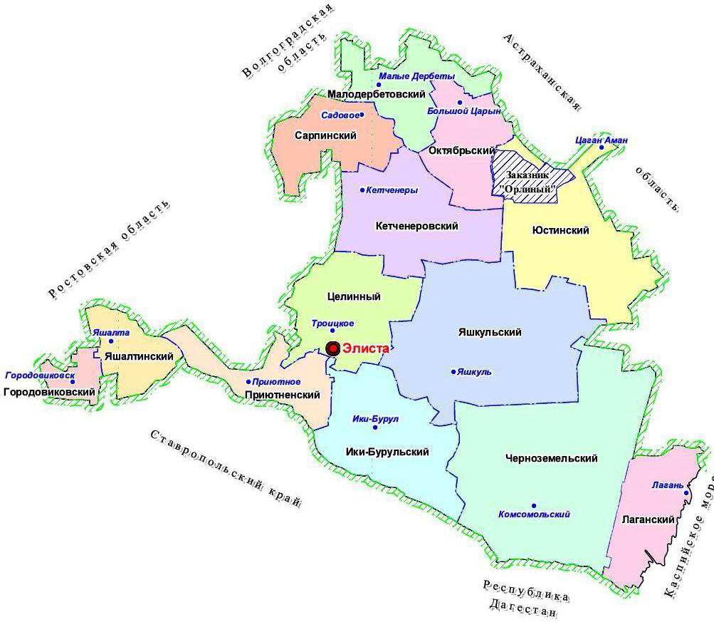 Татал-Барунский (Орлиный) заказник, схема расположения. Республика Калмыкия