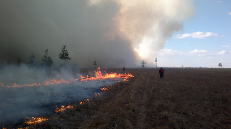 Пожар в Забайкальской степи. Апрель 2012. Фото В. Кирилюка