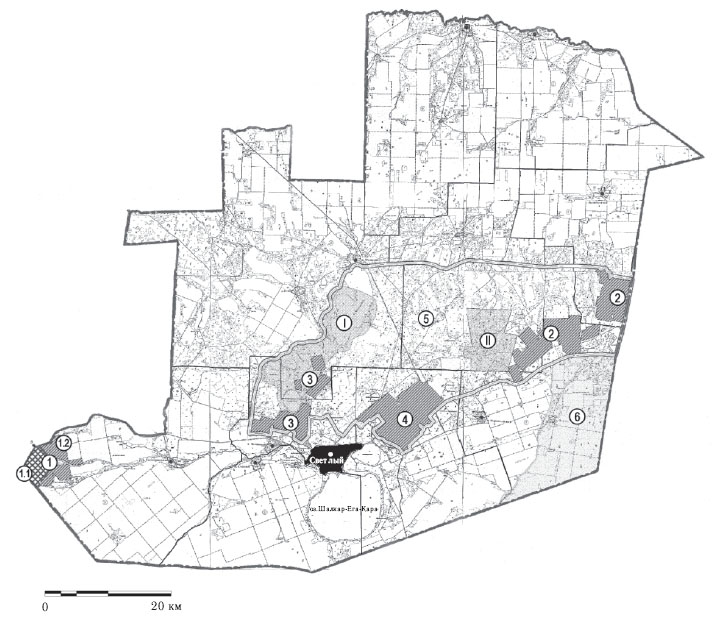 Принципиальная схема оптимизации территориальной охраны степей в МО «Светлинский район» путем консервации малопродуктивных и маловостребованных пахотных угодий
