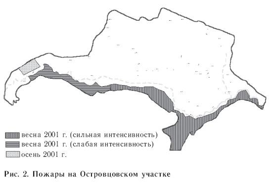Рис. 2. Пожары на Островцовском участке