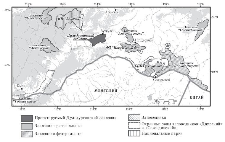 Расположение проектируемого Дульдургинского заказника