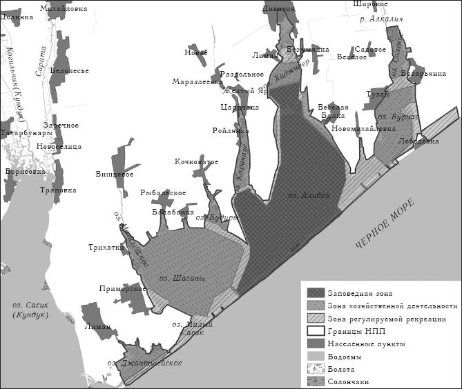 Функциональное зонирование НПП «Тузловские лиманы»