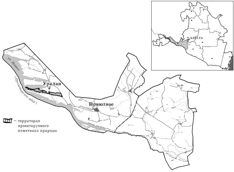 Схема расположения памятника природы «Тюльпановая степь»