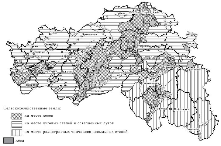 Рис. 1. Формирование сельскохозяйственных земель Белгородской области