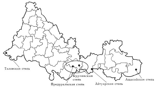 Участки Оренбургского заповедника на карте области