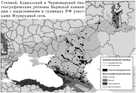 Степной, Кавказский и Черноморский биогеографические регионы Бернской конвенции с выделенными в границах РФ участками Изумрудной сети.