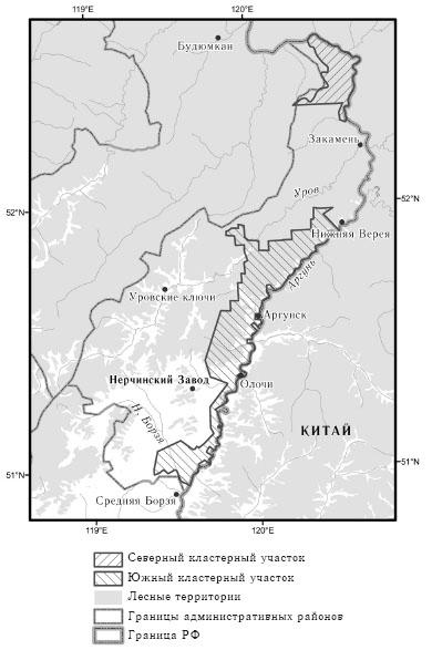 Схема расположения Среднеаргунского заказника