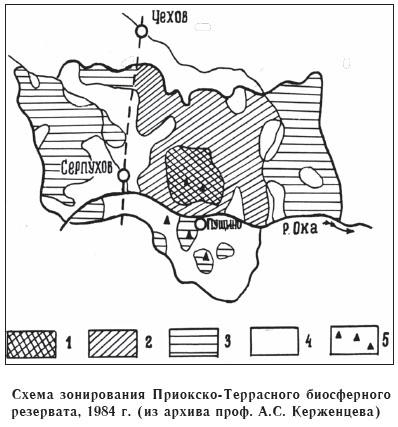 Схема зонирования Приокско-Террасного биосферного резервата